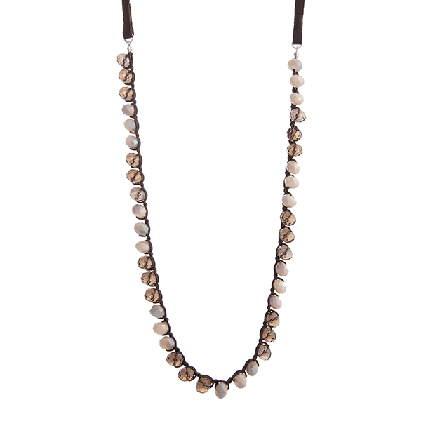 Faux Brown Leather Necklace