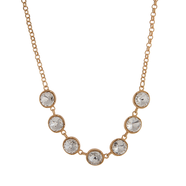 Matte Gold Rhinestone Necklace