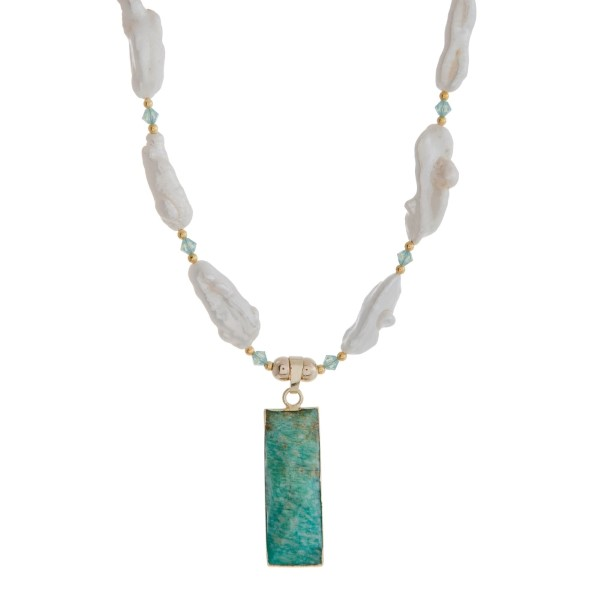 Pearl and Turquoise Pendant Necklace