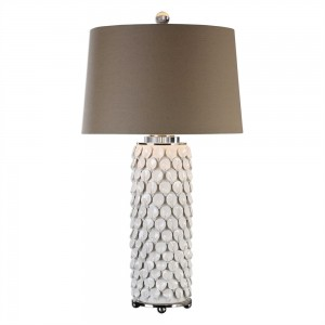 Ivory tone, textured ceramic lamp