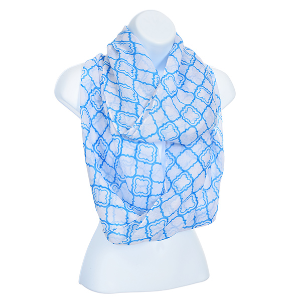 Infinity Scarf - Blue & Ivory