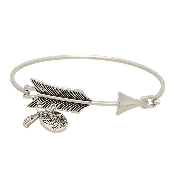 Bangle Bracelet - Wing Charm