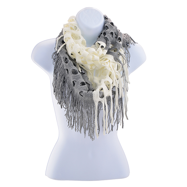Infinity Scarf - Gray & White