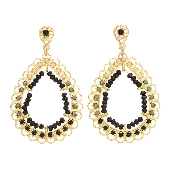 Teardrop Earrings - Detailed Black & Ivory