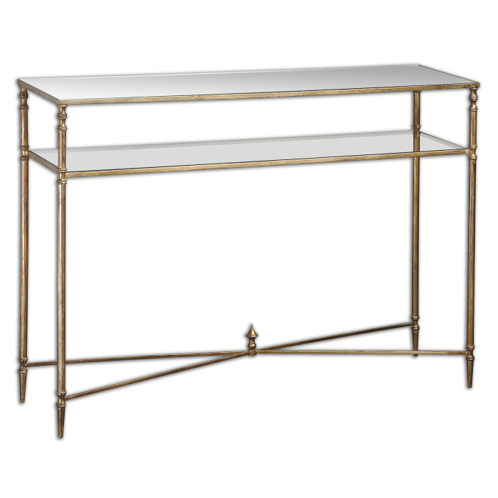 Antiqued Gold Leaf Console Table