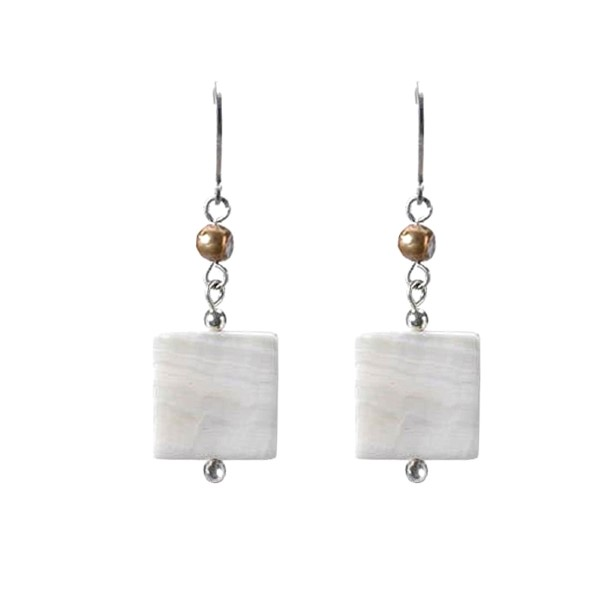 White Shell and Gold Earrings