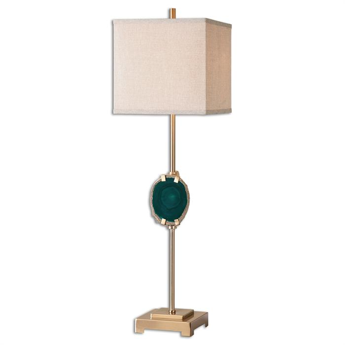 Brass Lamp With Agate Accent