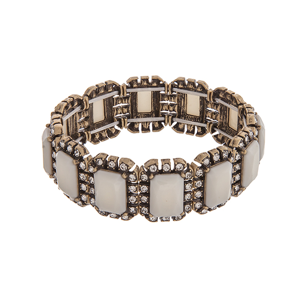 White Stone and Burnished Gold Stretch Bracelt
