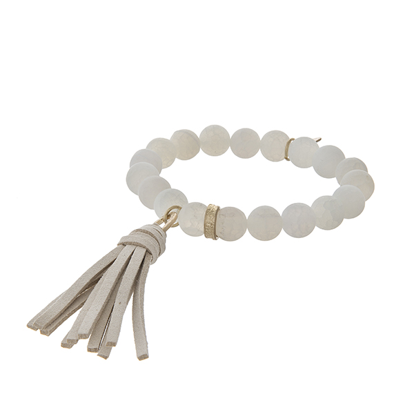 Matte White Tassel Bracelet
