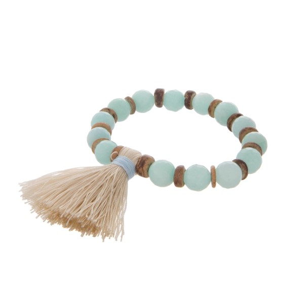 Mint Stretch Tasseled Bracelet