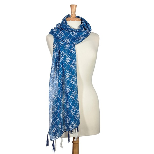 White and Blue Pawprint Scarf