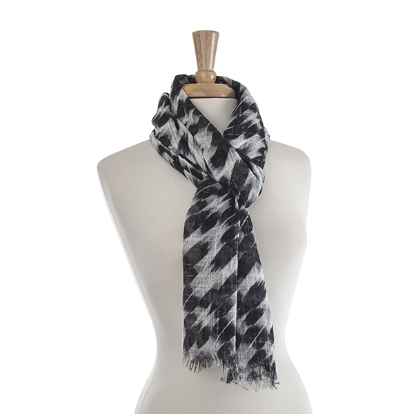 Black and Gray Abstract Scarf