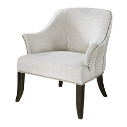 Ivory Pearlescent Fabric Lounge Chair