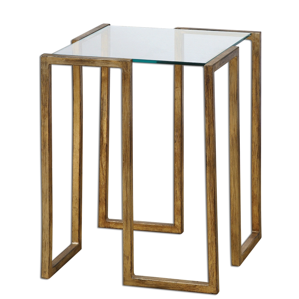 Antiqued Gold Leaf Accent Table