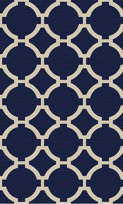 8x10 Navy Patterned Rug