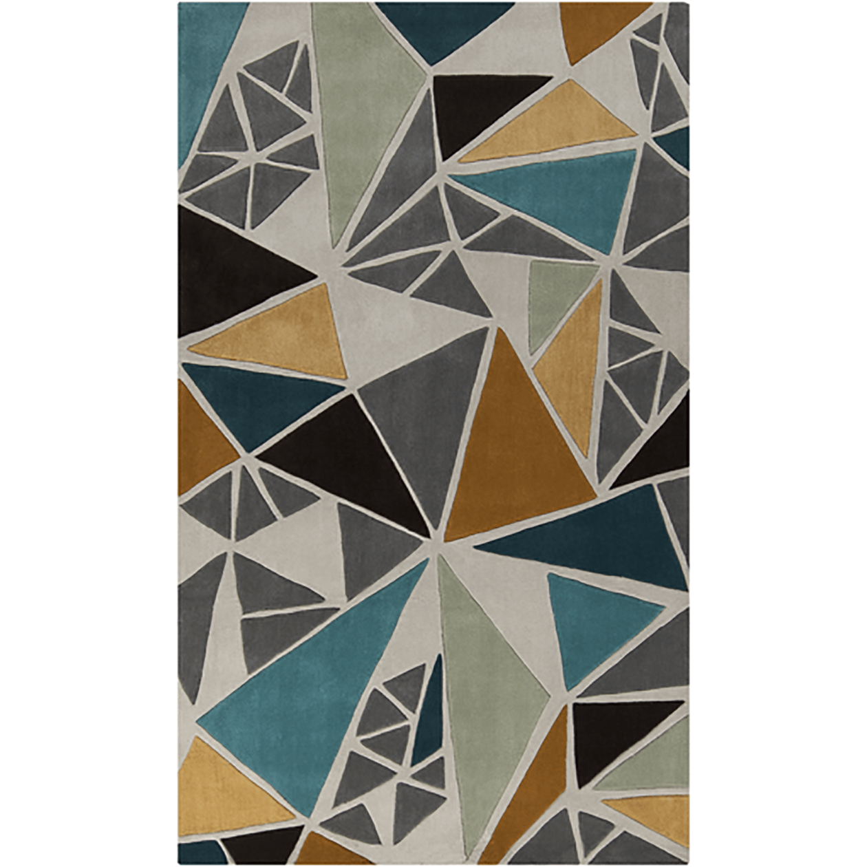 8x11 Gray/Gold/Teal Rug