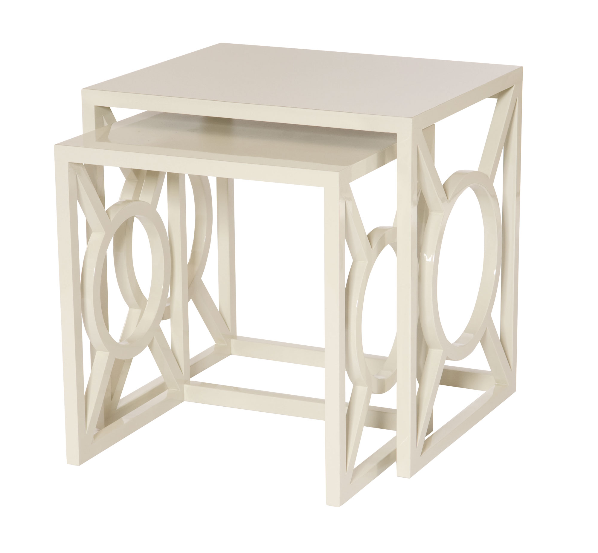 Glossy Coat Ivory Nesting Tables