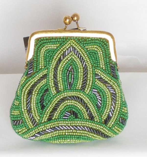Green Beaded Coin Bag
