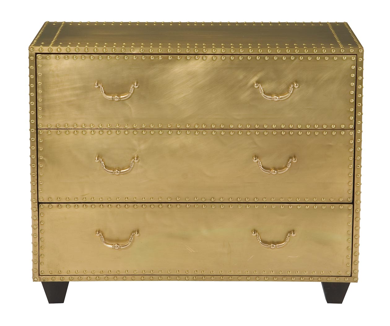 Brass Finish Three-Drawer Chest