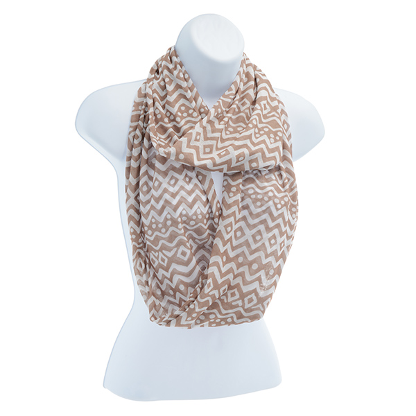 Taupe and White Infinity Scarf