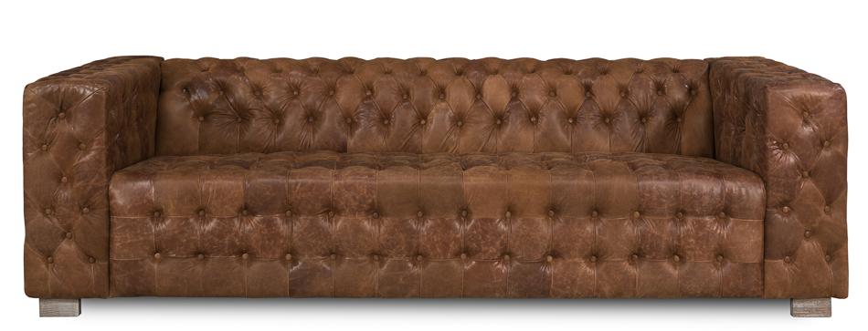 Chocolate Leather Tufted Sofa