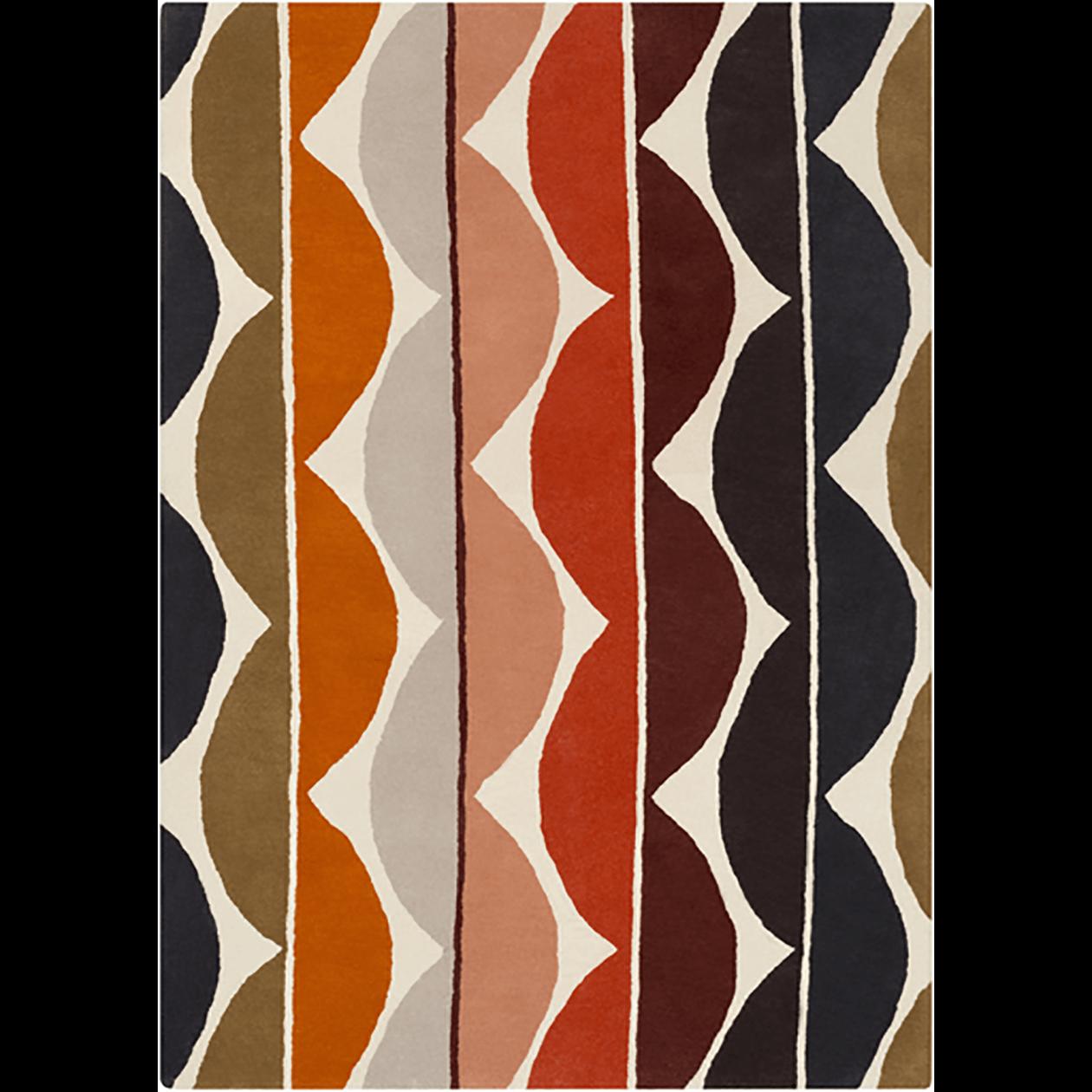 8x11 Mocha/Rust Wave Rug