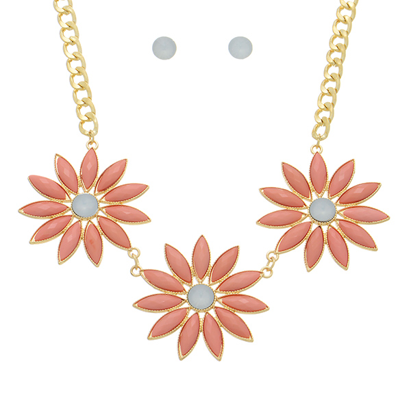 Necklace Set - Peach Flowers