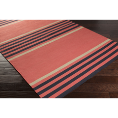 8x11 Coral Striped Rug
