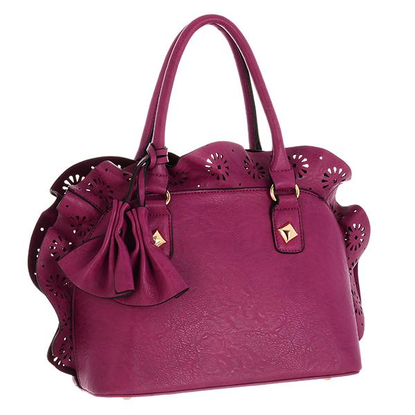 Purple Faux Leather Handbag